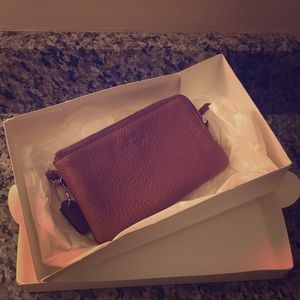 COACH Authentic leather wristlet - New w/box!